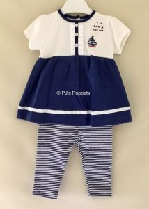 BABY GIRLS SUMMER TOP LEGGINGS SET 3 6 12 18 NAUTICAL BOAT STRIPE SMALL FITTING